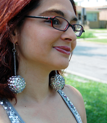 Smoothfoam disco ball sequin earrings by Lindsay Obermeyer