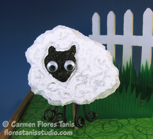 Smoothfoam carved sheep by Carmen Flores Tanis