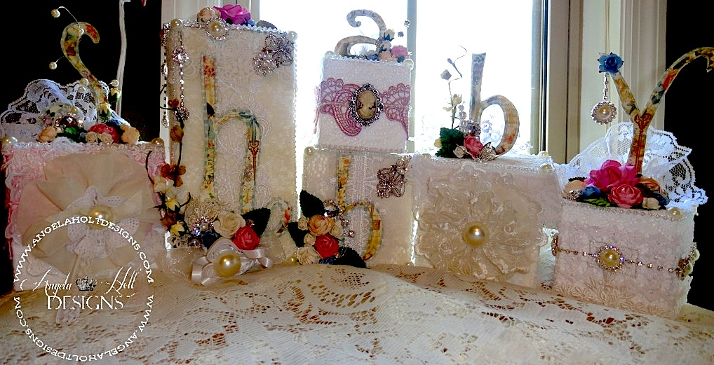 Shabby Chic Smoothfoam block display by Angela Holt