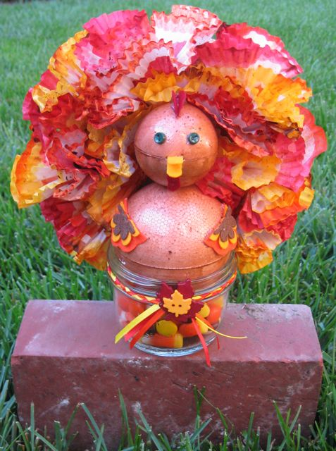 Thanksgiving turkey mason jar topper