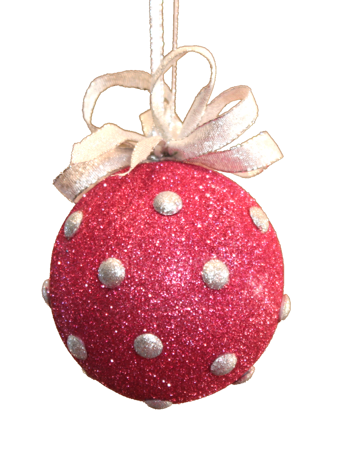 Polka dot christmas ornaments - Pink Glitter Smoothfoam Ornament
