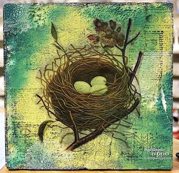 Smoothfoam birds nest mixed media art  by Jennifer Priest