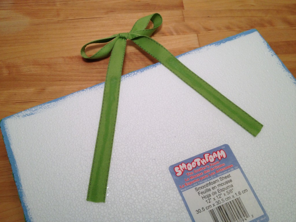 glue ribbon hanger to smoothfoam