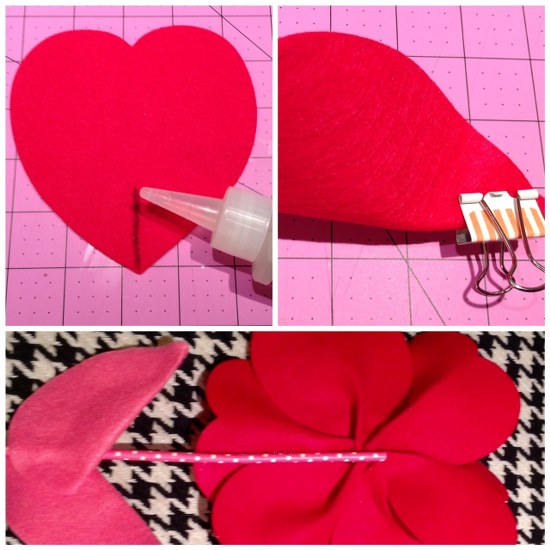how to make felt heart flower