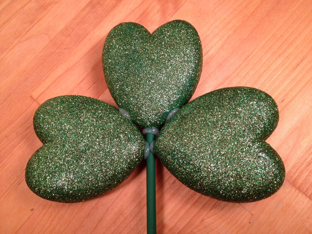 green glitter heart shamrock