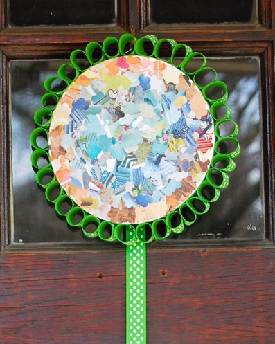 smoothfoam wreath with recycled magazines