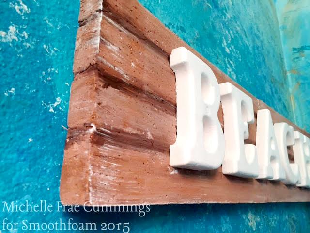 Weathered wood plank beach sign smoothfoam