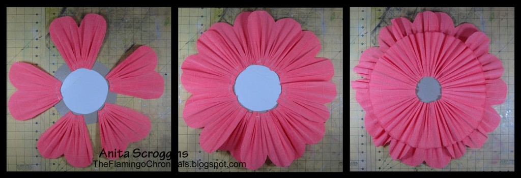 make gathered crepe paper flower