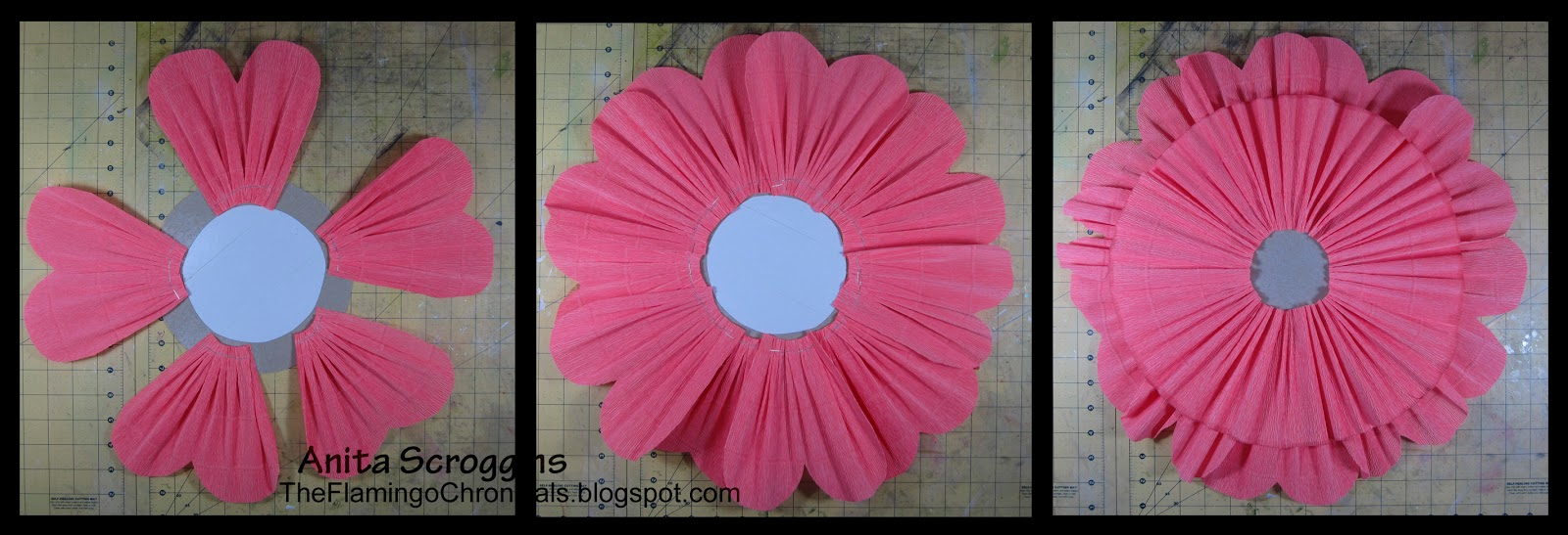 Giant crepe paper flowers diy flower decorations smoothfoam make gathered crepe paper flower mightylinksfo