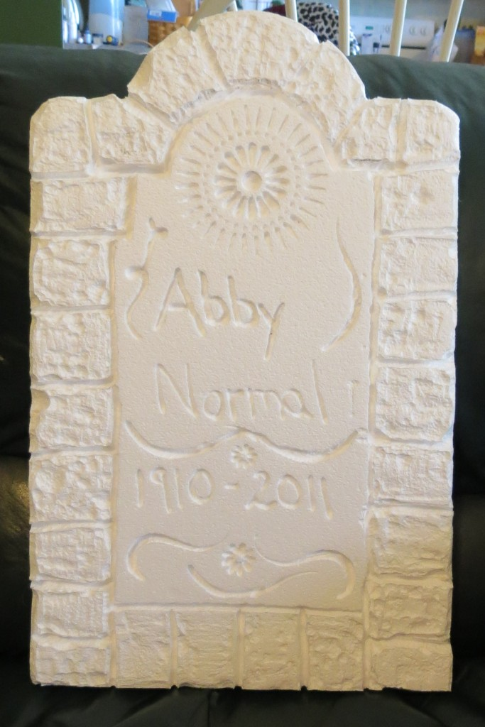 carved smoothfoam tombstone