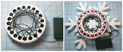 attaching LED lights to Smoothfoam wreath