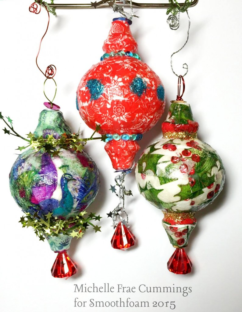 decoupage smoothfoam christmas ornaments