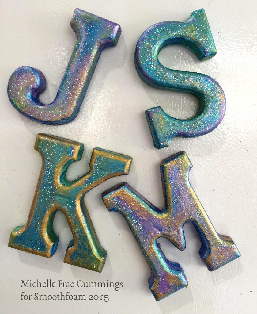 painted glittered smoothfoam letters