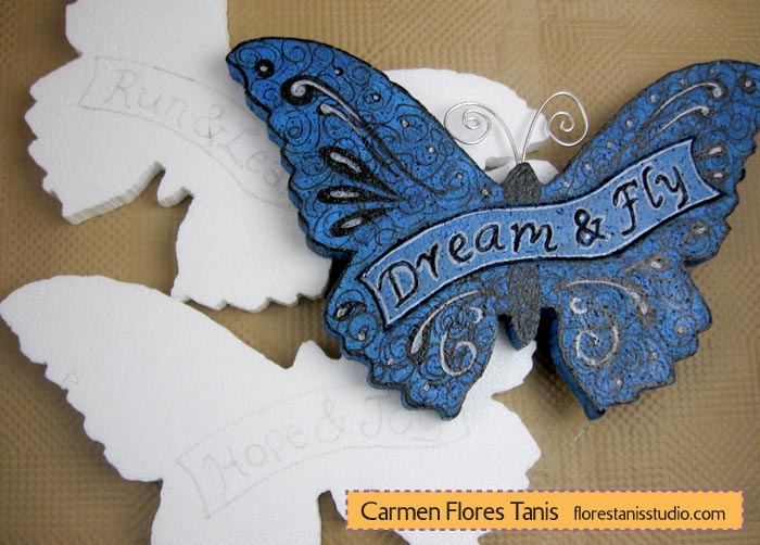 Smoothfoam Carved Fanciful Butterfly Wall Hangings by Carmen Flores Tanis Cut Outs