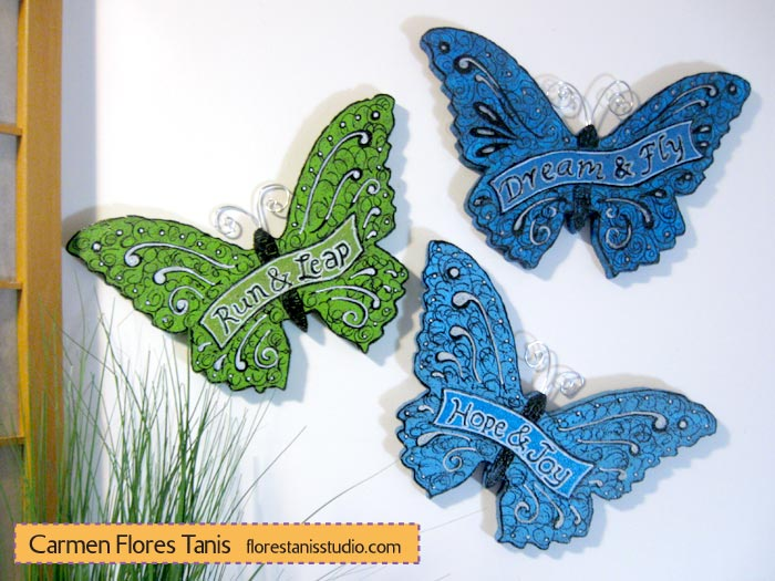 Smoothfoam Carved Fanciful Butterfly Wall Hangings by Carmen Flores Tanis Main